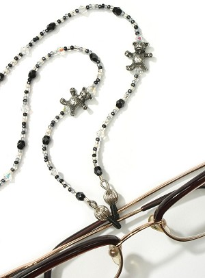 Black/White Crystal Eyeglass Holder