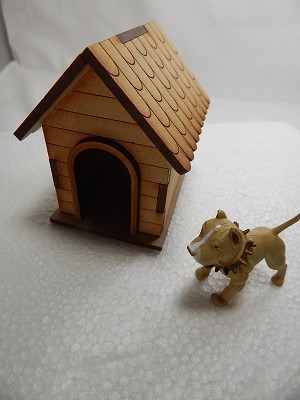 "Dollhouse Miniature 2""X1.5"" Light Brown Standing Rottweiler w/Dog House #Z428"
