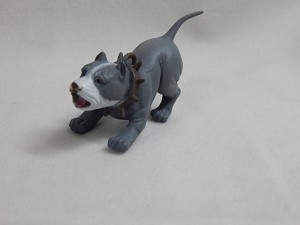 "Dollhouse Miniature 1.5""X1.5"" Gray Rottweiler Dog in Action #Z432"