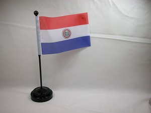 "PARAGUAY 4""x6"" Hand Held or Table Top International Flag"