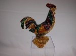 Miniature Crystal Hinged Box For Rooster Lover Jewelry Box Collectible #Z316